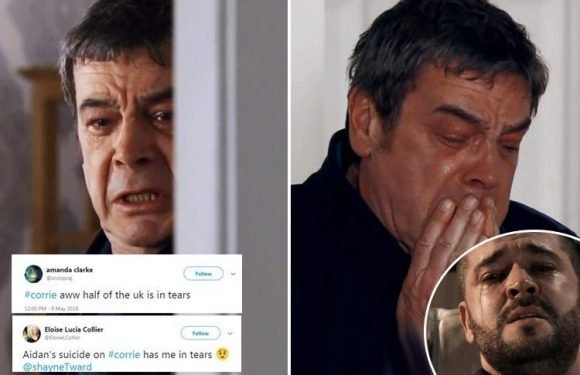Coronation Street viewers sob as they struggle to watch harrowing scenes as Aidan's dad Johnny wails in agony after son's suicide