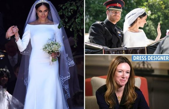 Prince Harry's first words to Meghan Markle's Givenchy wedding dress designer as he tells her 'oh my God, thank you'