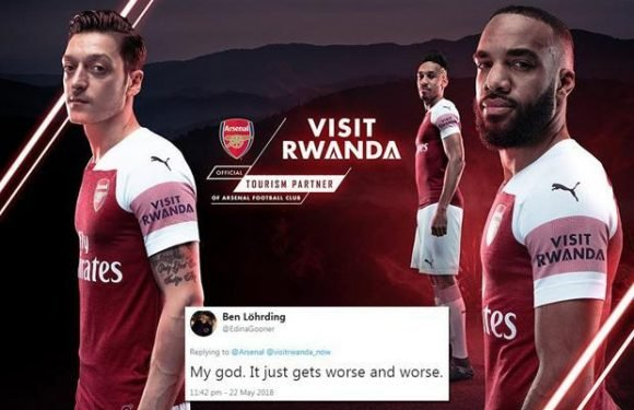 Arsenal sign three-year sleeve sponsorship with Visit Rwanda… but deal is a huge flop with fans