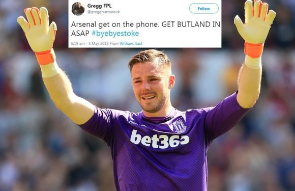 Arsenal fans desperate to sign crying Jack Butland after Stoke are relegated to the Championship