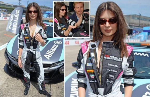 Emily Ratajkowski becomes first female celebrity to drive Formula E car at German race