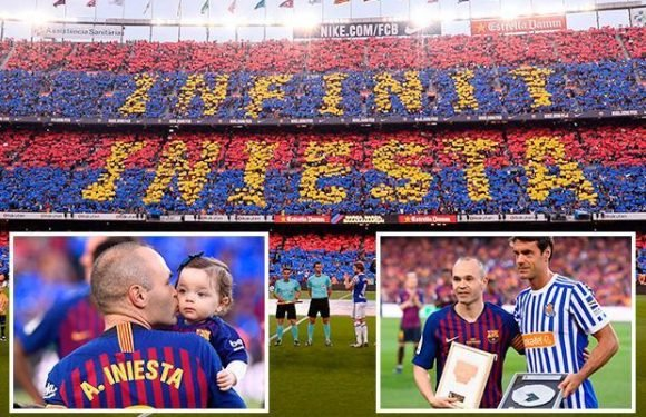 Barcelona legend Andres Iniesta in tears as he gets guard of honour and amazing fan tribute in final game for club