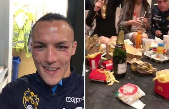 Josh Warrington celebrates world title win over Lee Selby by gorging on McDonald's and champagne