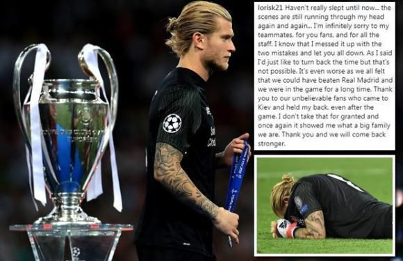 Loris Karius breaks silence on Liverpool Champions League heartache in emotional message to fans