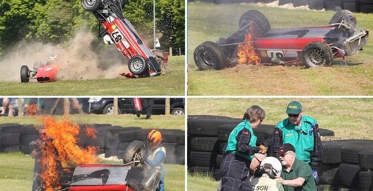 Formula Ford driver Nelson Rowe rescued from fireball crash after rival Callum Grant stops mid-race to save him