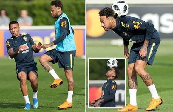 Neymar laughs with Brazil pals as Samba boys train at Tottenham's HQ ahead of Croatia friendly