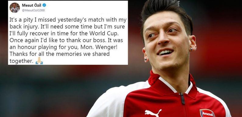 Arsenal star Mesut Ozil reveals back injury kept him out of Burnley clash but hopes to be fit for World Cup