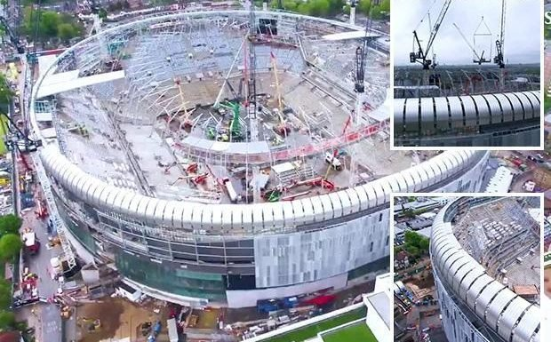 Tottenham new stadium shown off in stunning drone footage as 62,000 all-seated ground nears completion