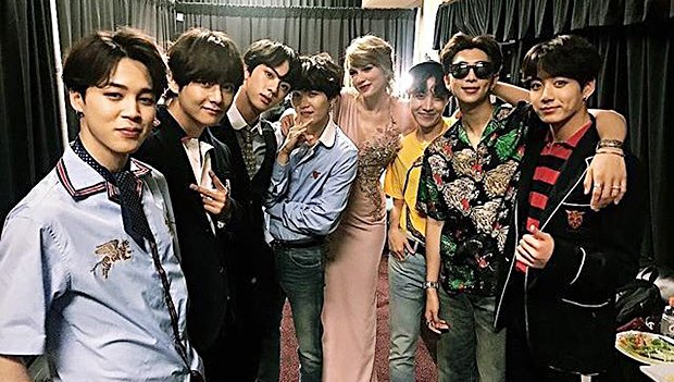 Taylor Swift Meets BTS Backstage At BBMAs & The Pic Is Pop Music Perfection — Should They Collab?