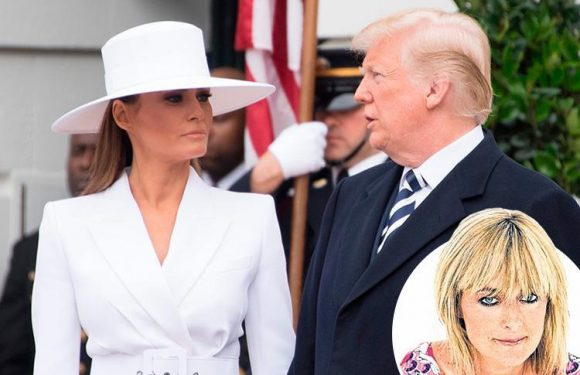 Melania Trump's expression looks like she's saddled with a man she can't bear