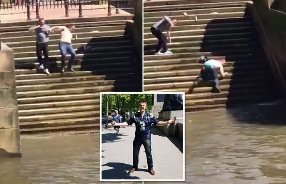 Hilarious moment man slips and tumbles down 12 steps into the River Thames