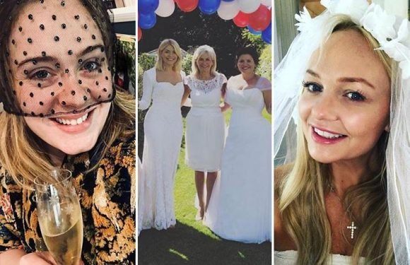 Holly Willoughby wears her wedding dress to celebrate the Royal Wedding while Adele wears a black veil as stars join in the fun at home