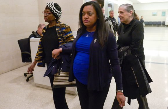 Pregnant widow of slain Cuomo aide weeps at murder trial for alleged killers