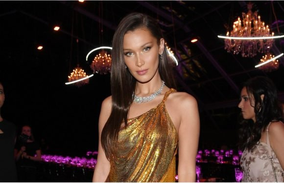 Wowza! It Looks Like Bella Hadid's Liquid Gold Dress Might Drip Right Off Her Body