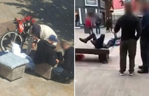Disturbing moment 'zombie on Spice' flails on city centre bench