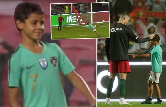 Cristiano Ronaldo Jnr shows off his skills as his Dad watches on
