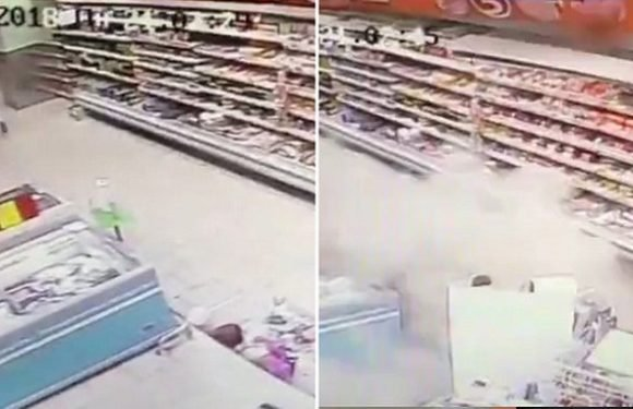 Supermarket floor COLLAPSES seconds after customers walk through