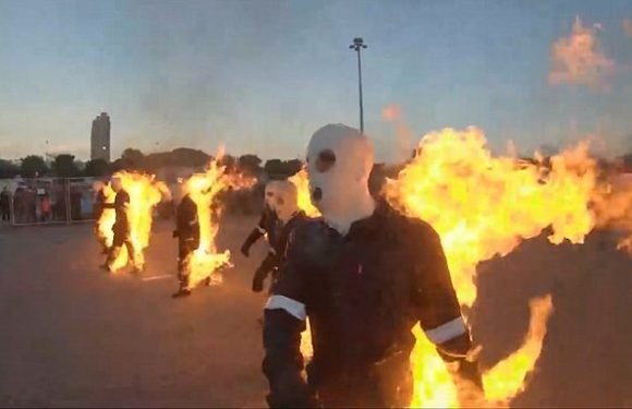 Moment 32 stuntmen set fire to themselves and break world record