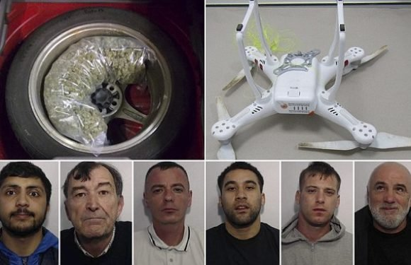 Gang jailed after flying drugs into prison using drone
