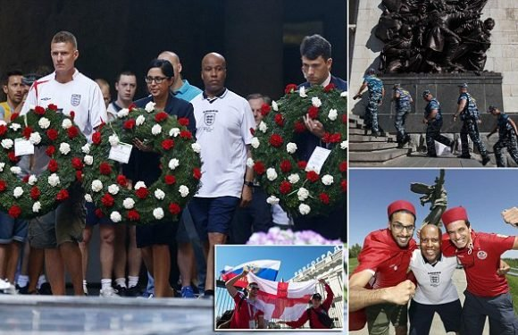 England fans pay respects to 2million who died in World War Two battle