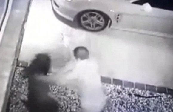 Shocking moment yob rains flurry of punches on mother-of-two