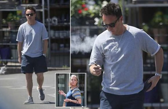 Ant McPartlin puffs on his vape as he enjoys a sunny outing in London