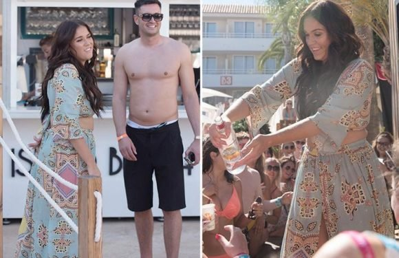 Vicky Pattison can't stop smiling as she spends time with fiance John Noble at boozy pool party in Majorca