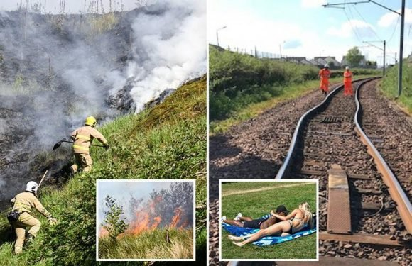 UK weather forecast predicts up to EIGHT heatwaves as train tracks buckle, wildfires rage and Met Office issues health warning amid 32C scorcher