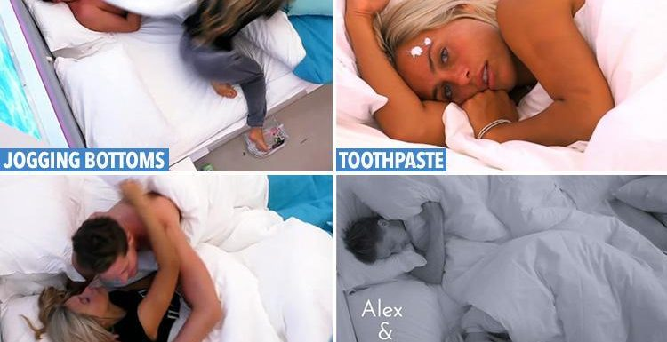 Love Island fans in hysterics as Ellie Brown 'tries to put off' Dr Alex George by going to bed with blobs of toothpaste on her face