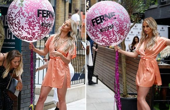Ferne McCann shows off her legs in silky mini dress as she celebrates the launch of her second fashion collection