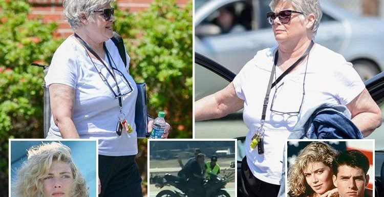 Top Gun star Kelly McGillis spotted walking near her home as sequel starts filming 32 years after the original