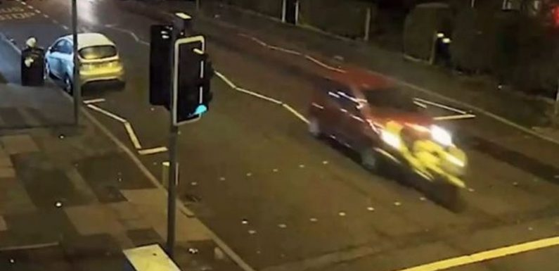 Horrific moment innocent motorcyclist was mown down then run over