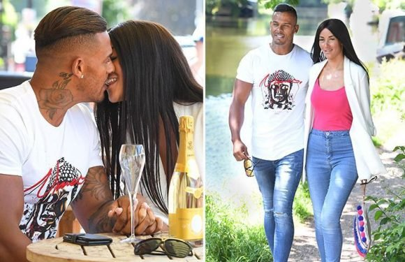 Kerry Katona's ex George Kay kisses new beauty queen girlfriend Nicola Moriarty on a romantic day out