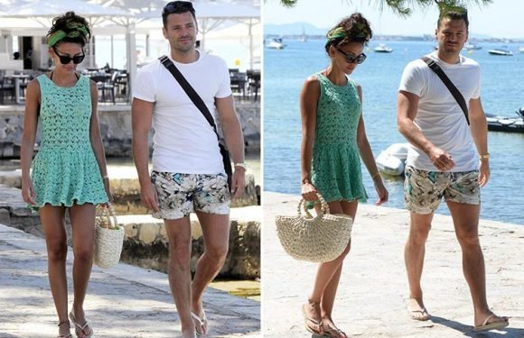 Michelle Keegan glams up for a day out with Mark Wright and the in-laws in Majorca ahead of his brother Josh's wedding