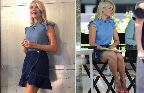 Holly Willoughby flashes her legs in tiny £25 denim skirt which sells out in MINUTES