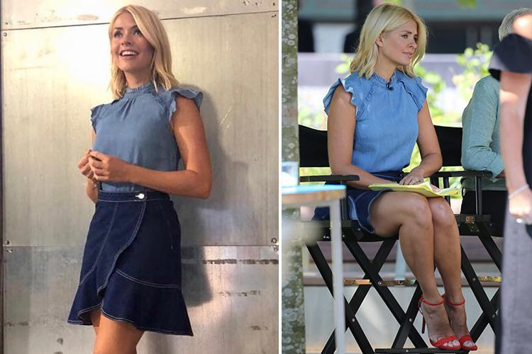 Holly Willoughby Flashes Her Legs In Tiny 163 25 Denim Skirt