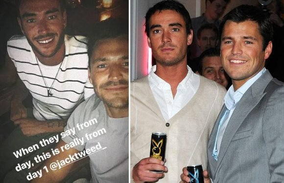 Mark Wright reunites with Jade Goody's widower Jack Tweed in Majorca on family holiday