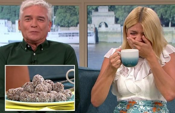 Holly Willoughby and Phillip Schofield get the giggles as they struggle to eat Elle MacPherson's 'sticky' chocolate balls on This Morning