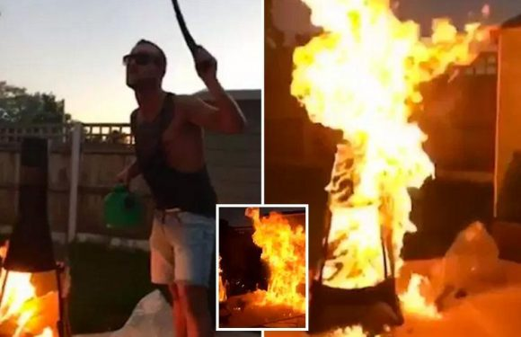 Idiot boasts he's 'boss of fire' before pouring petrol on chiminea and instantly regrets his decision as garden engulfed in flames