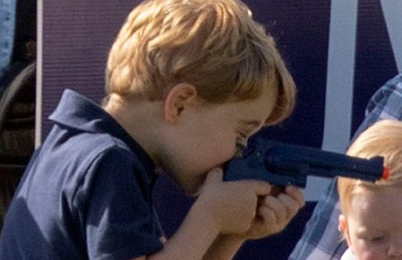 Outrage as Prince George plays with toy gun and knife on family day out