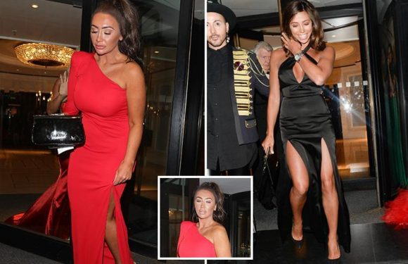Lauren Goodger looks all partied out as she leaves Butterfly Ball and Pascal Craymer nearly spills out of her dress