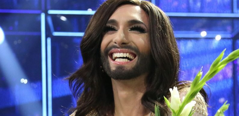Slim Conchita Wurst shows off dramatic new look of cropped blonde hair and beard