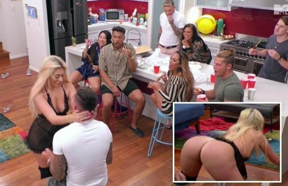 Geordie Shore's Chloe Ferry says she's going to 'act like a porn star' as she strips to sexy lingerie to perform lapdance for boyfriend Sam Gowland