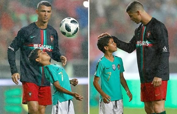 Cristiano Ronaldo Jnr has dad beaming as he shows off skills like his Real Madrid star dad after Portugal World Cup warm-up match