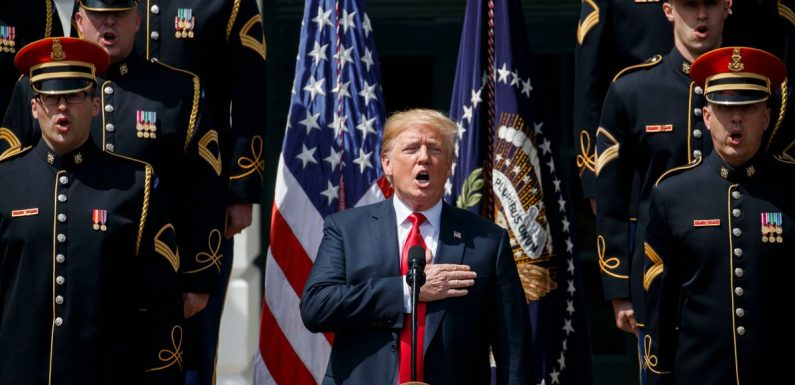 Trump forgets words to 'God Bless America' during event to celebrate patriotism