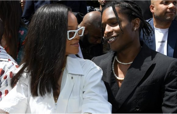 Rihanna Gets Cozy With Ex-Flame A$AP Rocky at the Louis Vuitton Runway Show in Paris