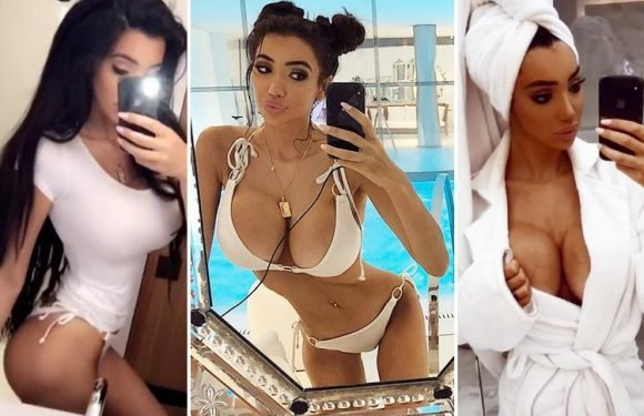 Chloe Khan shows off her curves and TINY waist in a white bikini as she poses by the pool in Paris