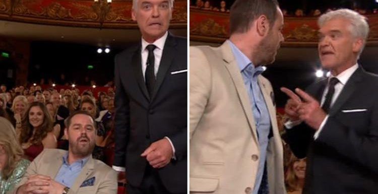 British Soap Awards 2018: EastEnders tough guy Danny Dyer squares up to host Phillip Schofield in prank bust-up after the actor failed to win a single nomination and looked miserable throughout the show