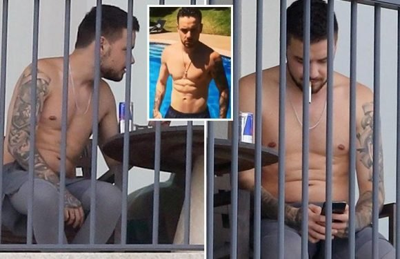 Liam Payne pictured puffing on a cigarette and downing Red Bull as touring appears to be taking its toll after 12 months away from home