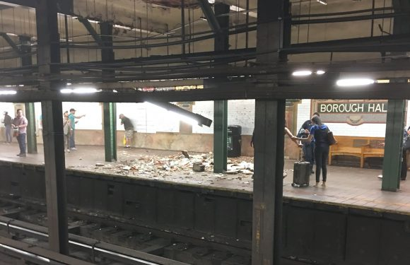 Woman injured as subway station ceiling falls apart